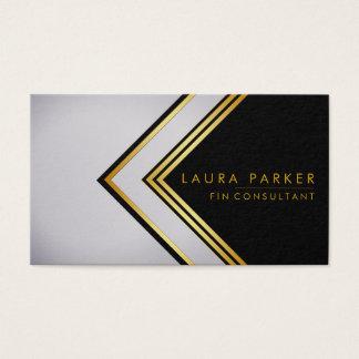 Cartão De Visitas Profissional elegante do ouro geométrico moderno