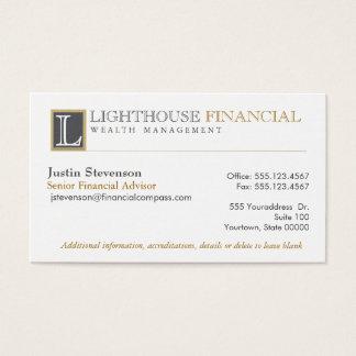 Cartão De Visitas Profissional financeiro do conselheiro do logotipo