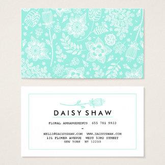 Cartão De Visitas Profissional floral branco do teste padrão da