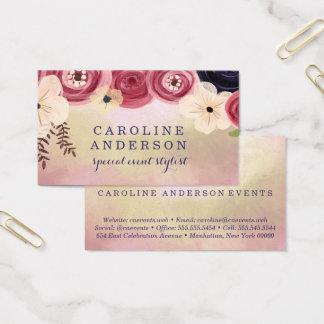 Cartão De Visitas Profissional floral da aguarela na moda
