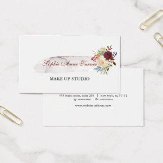 Cartão De Visitas Profissional floral de Borgonha do Watercolour