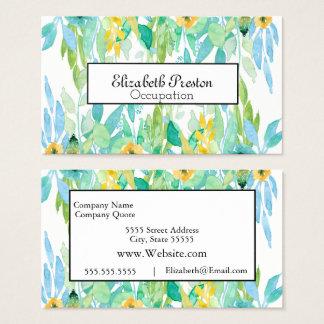 Cartão De Visitas Profissional floral frondoso da aguarela bonito