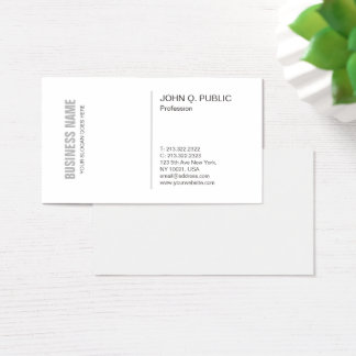 Cartão De Visitas Profissional liso à moda limpo branco moderno