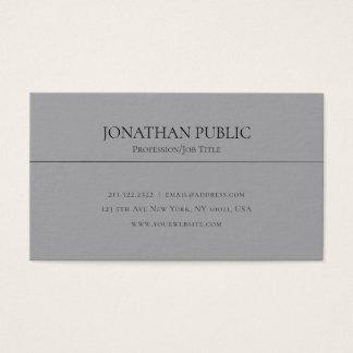 Cartão De Visitas Profissional liso limpo cinzento à moda moderno