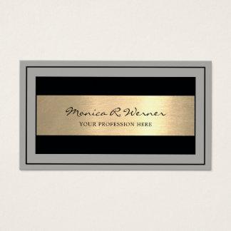 Cartão De Visitas profissional moderno do preto/cinzas/ouro do falso