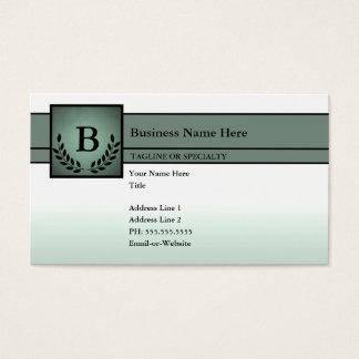 Cartão De Visitas profissional monogrammed (verde azeitona)