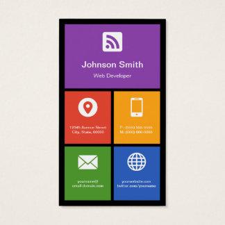 Cartão De Visitas Programador web - azulejos coloridos criativos