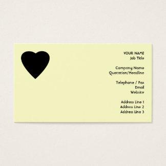 Cartão De Visitas Projeto preto e de creme do coração do amor
