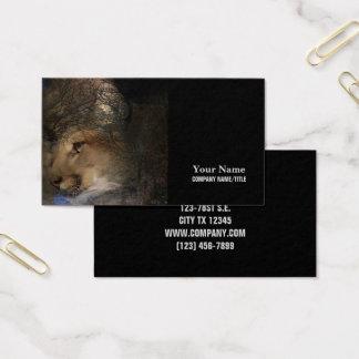 Cartão De Visitas Puma selvagem do leão de montanha da silhueta da