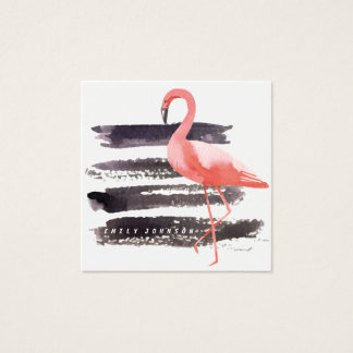 Cartão De Visitas Quadrado A escova artística do flamingo da aguarela afaga
