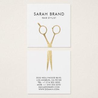 Cartão De Visitas Quadrado A folha de ouro do falso Scissors o cabeleireiro