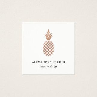 Cartão De Visitas Quadrado Abacaxi cor-de-rosa do ouro do falso elegante