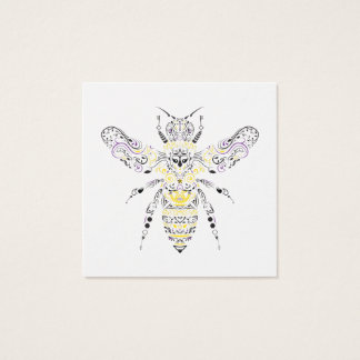 Cartão De Visitas Quadrado abelha ornamentado do mel