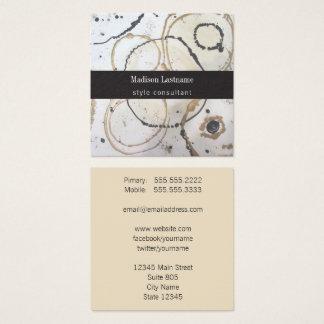 Cartão De Visitas Quadrado Abstrato elegante do ouro e do preto