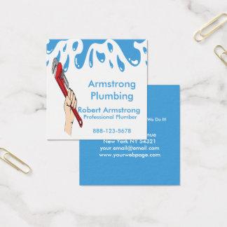 Cartão De Visitas Quadrado Água da chave de tubulação do canalizador