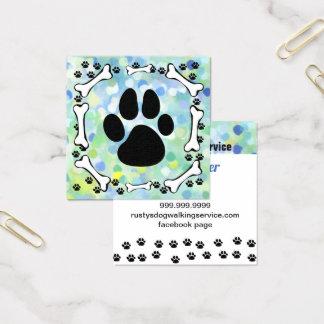 Cartão De Visitas Quadrado Aguarela bonito do serviço do animal de estimação