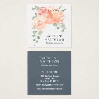 Cartão De Visitas Quadrado Aguarela do buquê do pêssego floral