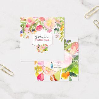 Cartão De Visitas Quadrado Aguarela floral de PixDezines/buquê do primavera
