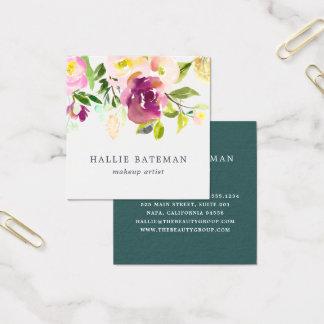 Cartão De Visitas Quadrado Aguarela moderna vibrante da flor | floral