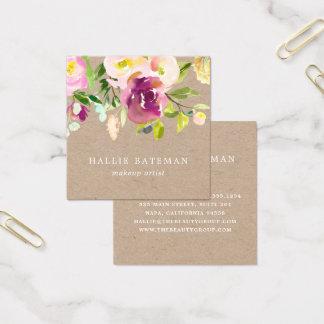 Cartão De Visitas Quadrado Aguarela rústica vibrante Kraft floral da flor |