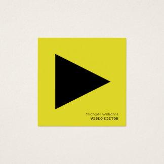 Cartão De Visitas Quadrado Amarelo simbólico moderno do botão do jogo