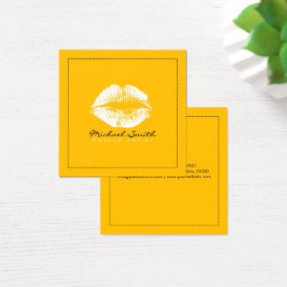 Cartão De Visitas Quadrado Âmbar moderno dos lábios brancos à moda do