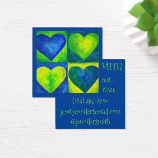 Cartão De Visitas Quadrado Amor pintado aguarela da arte do coração do verde