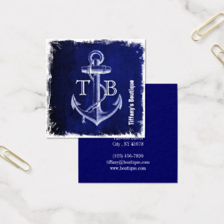 Cartão De Visitas Quadrado âncora náutica chique litoral dos azuis marinhos