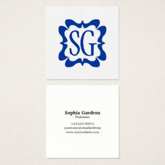 Cartão De Visitas Quadrado Azuis marinhos Curvy da caixa 02 - iniciais -