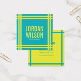 Cartão De Visitas Quadrado Azul da beira corajosa moderna e verde vibrantes