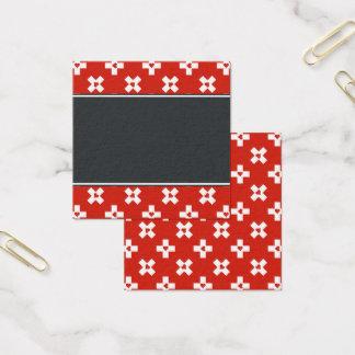 Cartão De Visitas Quadrado Bandeira da suiça com teste padrão do coração
