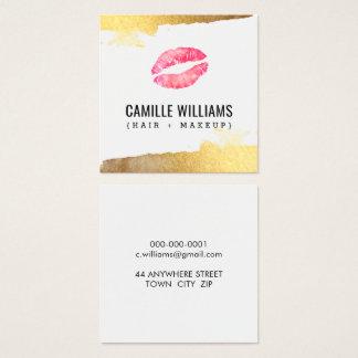 Cartão De Visitas Quadrado Beijo luxe MINIMALISTA GLAM do watercolour do rosa