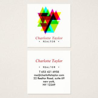 Cartão De Visitas Quadrado Bens imobiliários profissionais geométricos