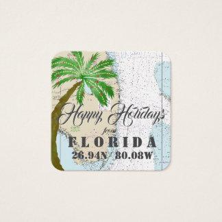 Cartão De Visitas Quadrado Boas festas dos Tag do presente de Florida