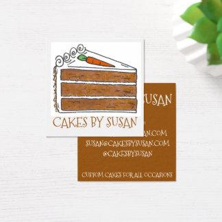 Cartão De Visitas Quadrado Bolos pela pastelaria da padaria da fatia do