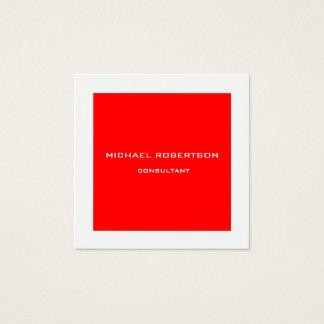Cartão De Visitas Quadrado Branco vermelho especial original liso