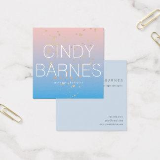 Cartão De Visitas Quadrado Brilho azul cor-de-rosa do ouro do inclinação