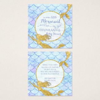 Cartão De Visitas Quadrado Brilho do ouro do Raffle da fralda do chá de