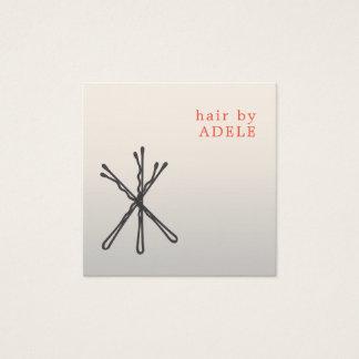 Cartão De Visitas Quadrado Cabeleireiro elegante moderno dos pinos de cabelo