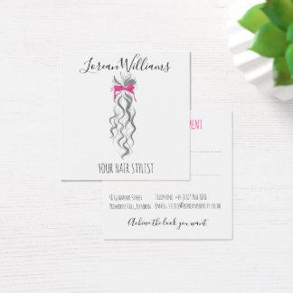 Cartão De Visitas Quadrado Cabelo ondulado longo com uma nomeação do penteado