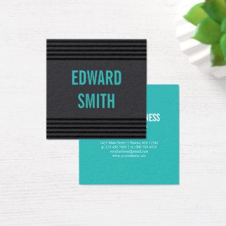 Cartão De Visitas Quadrado Carvão vegetal & turquesa com listras pretas