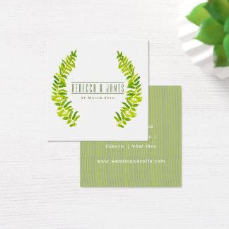 Cartão De Visitas Quadrado Casamento VERDE VIBRANTE da FOLHA da SAMAMBAIA do