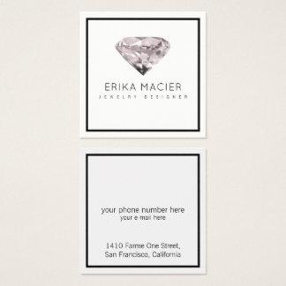 Cartão De Visitas Quadrado chique do design da jóia & branco & claro