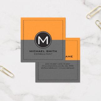 Cartão De Visitas Quadrado Cinzas e açafrão não ofuscantes modernos elegantes