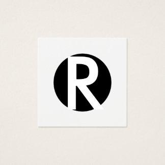 Cartão De Visitas Quadrado Círculo preto inicial corajoso do monograma mínimo