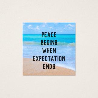 Cartão De Visitas Quadrado Citações inspiradas com cena tropical da praia