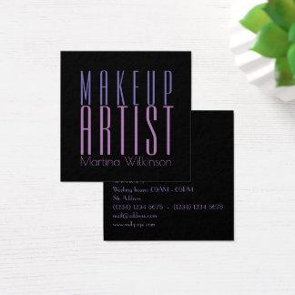 Cartão De Visitas Quadrado Cobrir gigante das letras do texto do maquilhador