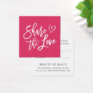 Cartão De Visitas Quadrado Compartilhe da referência do amor  