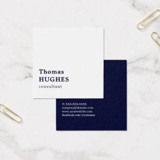 Cartão De Visitas Quadrado Consultante branco azul elegante simples