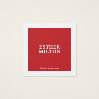 Cartão De Visitas Quadrado Consultante branco vermelho elegante simples